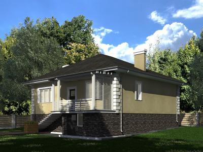 Одноэтажный жилой дом 11.8х12.3 площадью 242 м2 + проект