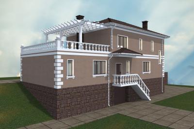 Индивидуальный трехэтажный дом на двух хозяев площадью 456 м2 + проект