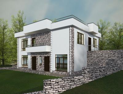 Дуплекс проект двухэтажного дома площадью 240 м2 + проект