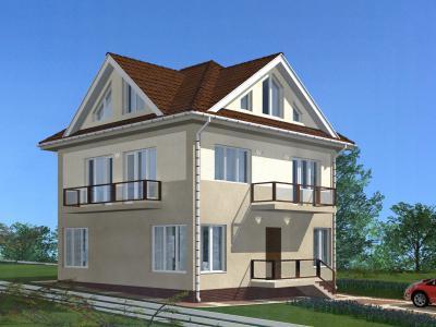 Дом 9.0 х 9.0 площадью 245 м2 + проект