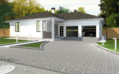 Одноэтажный жилой дом 14.8 х 17.3 площадью 209 м2 + проект