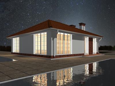 Одноэтажный жилой дом мансардного типа площадью 72 м2 + проект