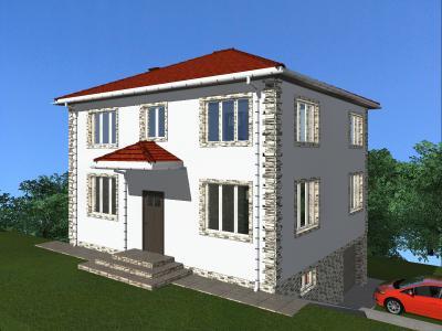 Двухэтажный жилой дом с цокольным этажом площадью 270 м2 + проект