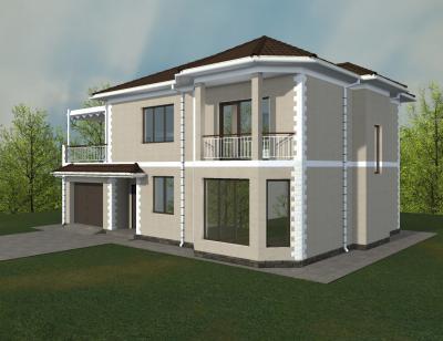 Двухэтажный жилой дом с гаражом площадью 247 м2 + проект