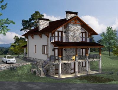 Двухэтажный дом с цокольным этажом 11,8 х 9,4 м площадью 359 м2 + проект