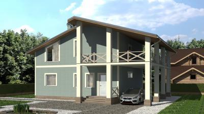 Двухэтажный дом мансардного типа площадью 260 м2 + проект