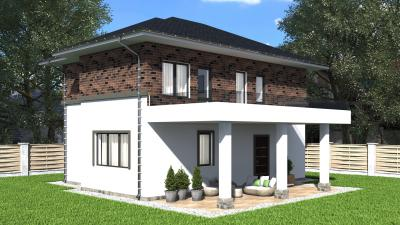 Двухэтажный дом 10.7х7.7 м площадью 193 м2 + проект