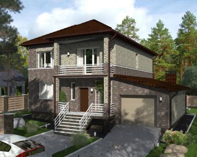 Дом 15.3 х 13 м облицован лицевым кирпичом площадью 319 м2 + проект