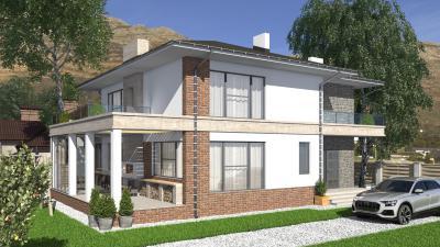 Двухэтажный дом с цокольным этажом площадью 295 м2 + проект