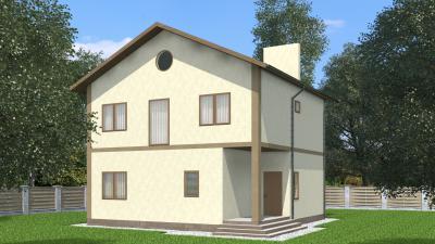 Двухэтажный дом мансардного типа площадью 194 м2 + проект