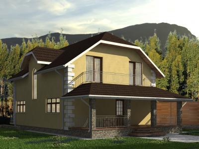 Двухэтажный дом с цокольным этажом площадью 354 м2 + проект
