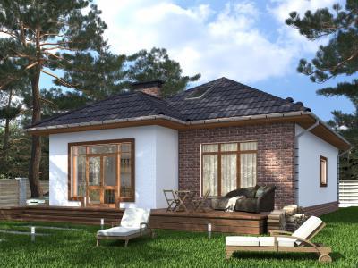 Одноэтажный жилой дом 10.3х13.7 площадью 144 м2 + проект