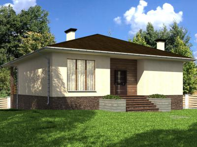 Одноэтажный дом с цокольным этажом площадью 240 м2 + проект
