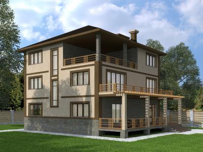 Трехэтажный дом 12.2х12.2 м площадью 543 м2 + проект