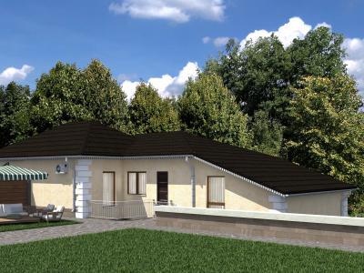 Одноэтажный дом с цокольным этажом площадью 104 м2 + проект