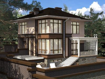 Двухэтажный дом с цокольным этажом площадью 344 м2 + проект