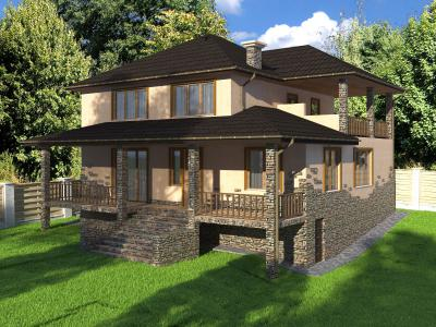 Двухэтажный дом 11 х 13.3 м площадью 317 м2 + проект