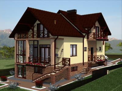 Дом с цокольным этажом 7.5 х 13.4 м площадью 256 м2 + проект