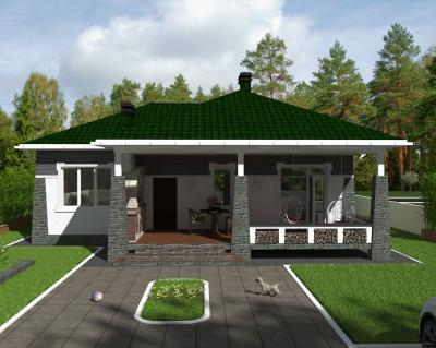 Дом 13.1 х 8.6 м. Терраса 37 м2 + Эко-интерьер площадью 150 м2 + проект