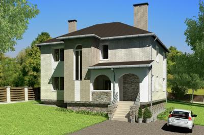 Дом 12,4х12,0 площадью 307 м2 + проект