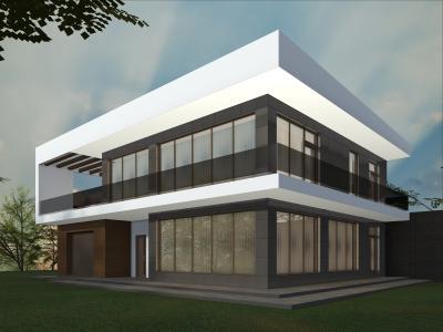 Двухэтажный дом с эксплуатируемой кровлей площадью 363 м2 + проект
