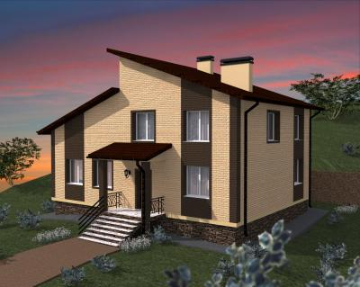 Полутороэтажный дом 13.3 м х 10.3 м площадью 306 м2 + проект