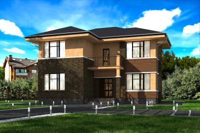 Двухэтажный дом 13.3х13.7 площадью 280 м2 + проект